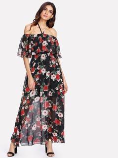 Ruffle Embellished Floral Halter Dress