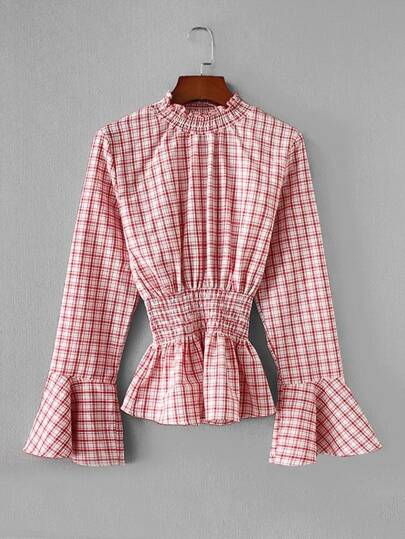 Shirred Detail Flounce Sleeve Plaid Blouse