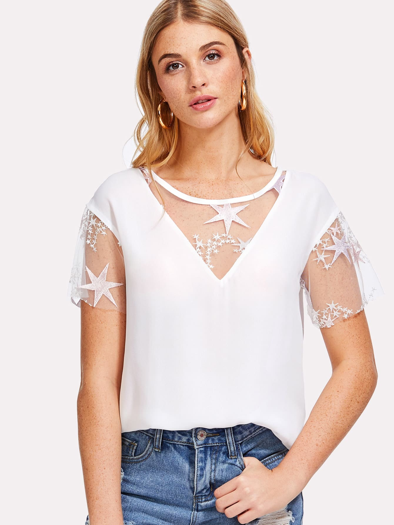 Mesh Insert Solid Top lace insert solid top