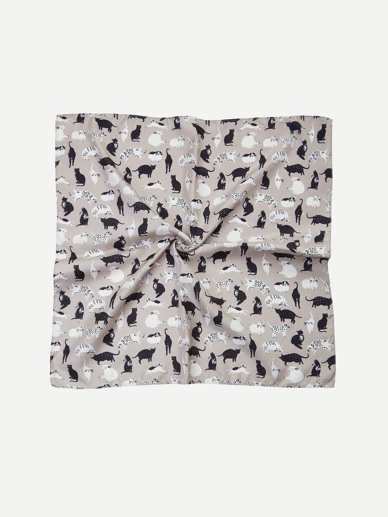 Cat Print Bandana Scarf calico print satin bandana