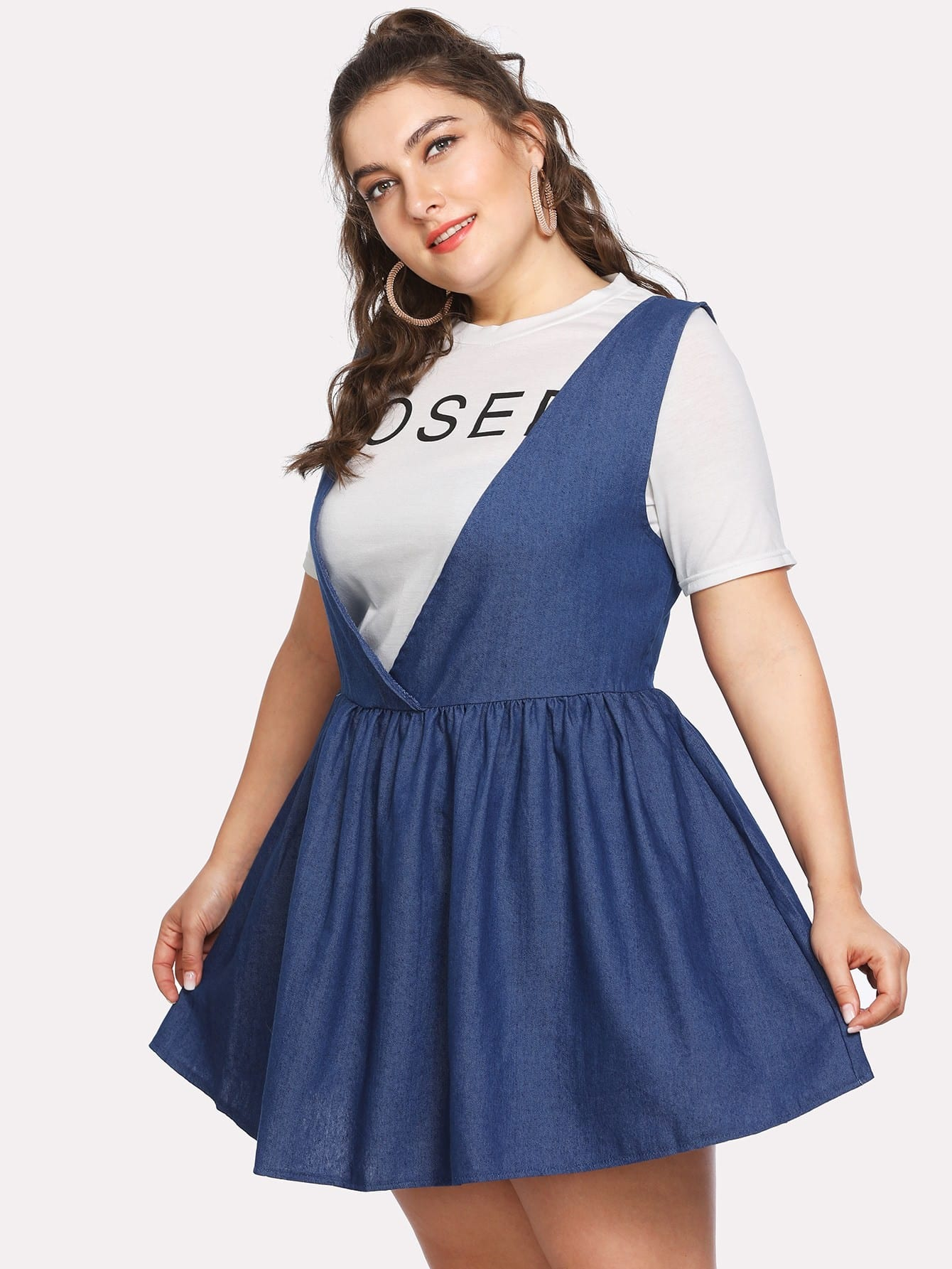 Lace Up Back Overall Skater Dress