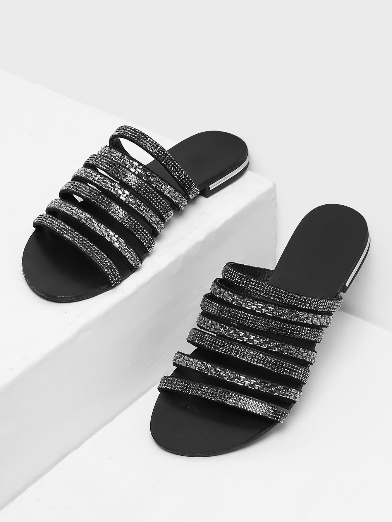 Rhinestone Detail Strappy Sandals rhinestone detail strappy sandals