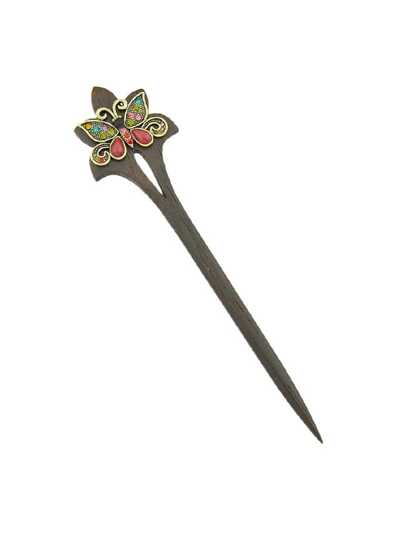 Colorful Retro Butterfly Wood Hairpin
