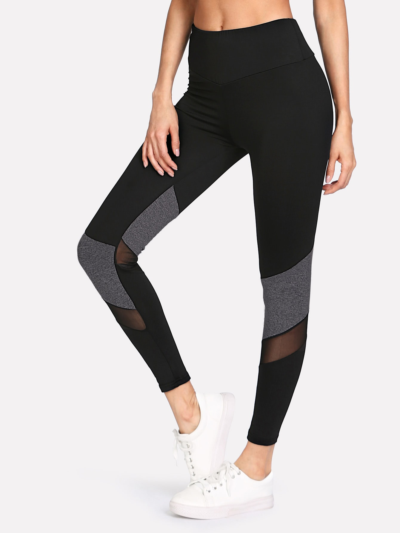 Contrast Mesh Insert Leggings side panel mesh insert camo leggings