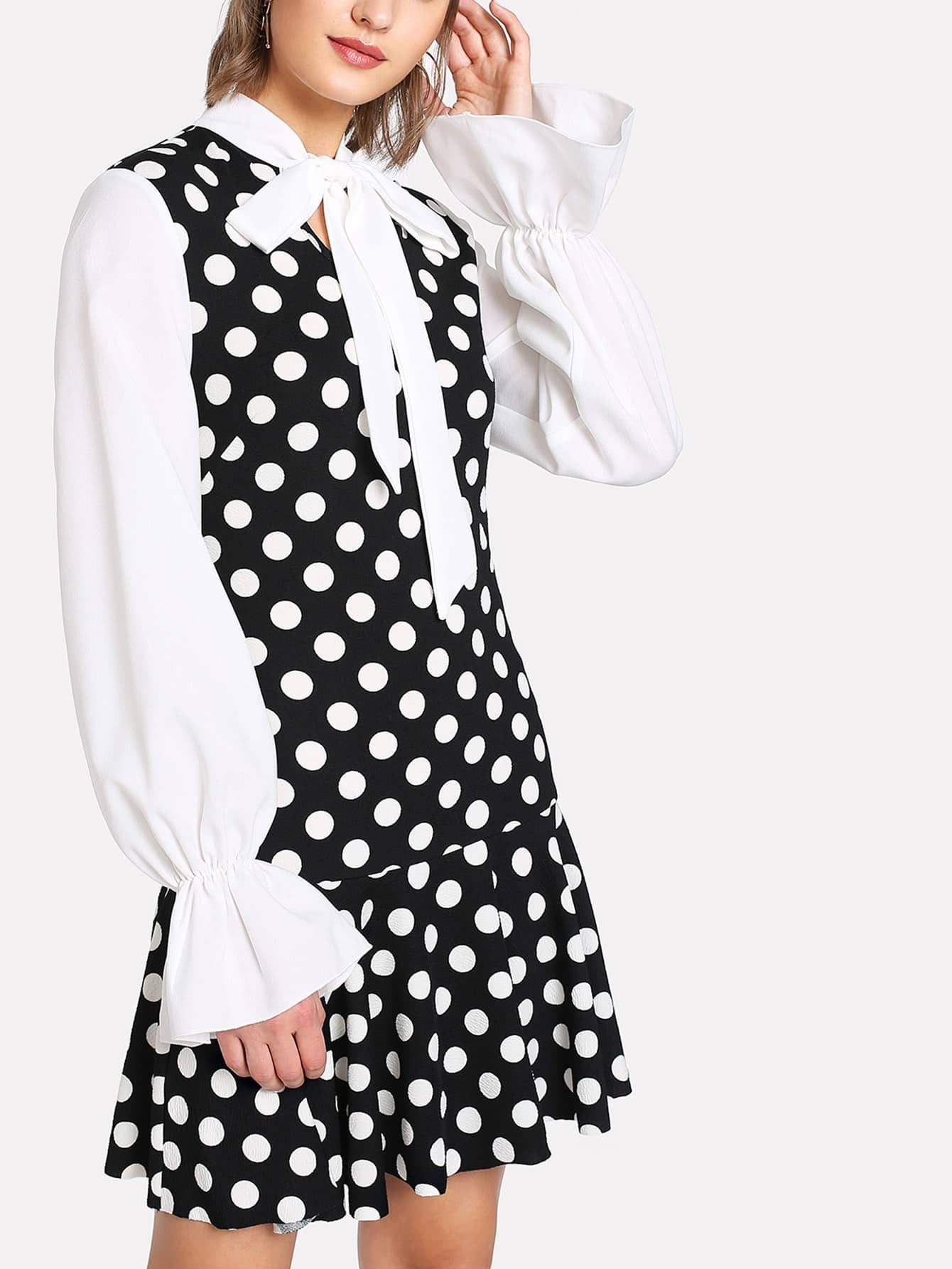 Tie Neck Ruffle Hem Polka Dot Dress ruffle armhole tie back polka dot top