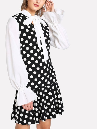 Tie Neck Ruffle Hem Polka Dot Dress