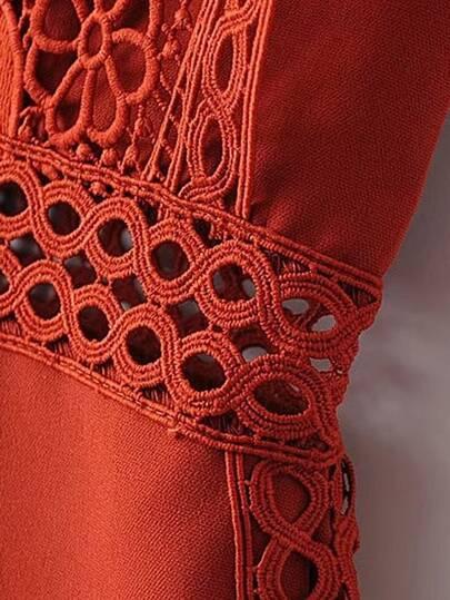 Romwe / Lace Crochet Strap Insert Romper
