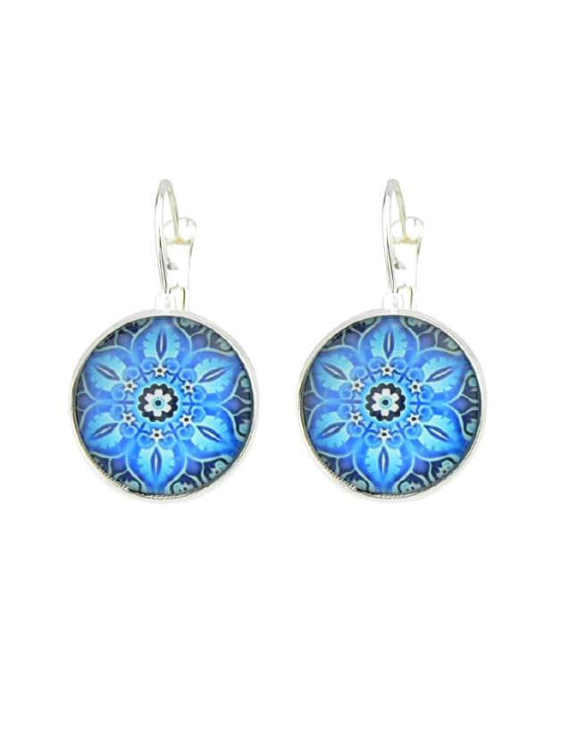 Blue Flower Pattern Hoop Earrings clip on earrings with mandala flower pattern round pendant