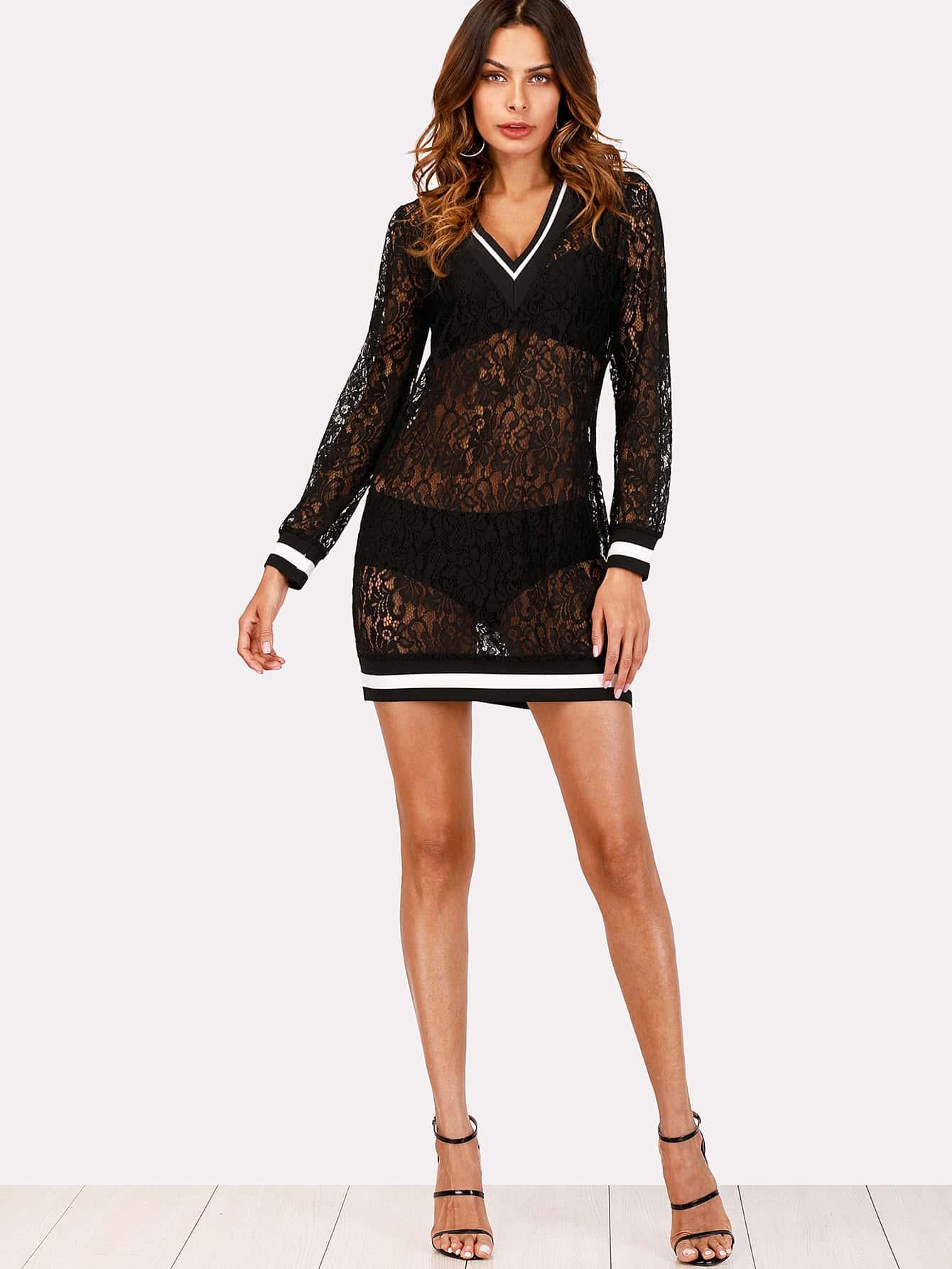 Contrast Striped Trim Lace Dress maison jules new junior s small s pink combo lace crepe contrast trim dress $89