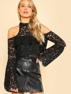 Cold Shoulder Eyelash Lace Top
