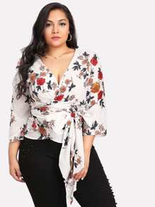 Self Belted Surplice Wrap Floral Top
