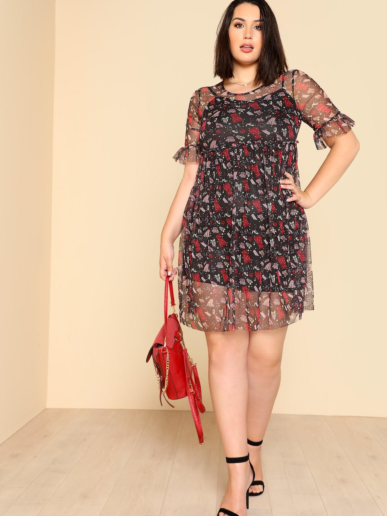 Ruffle Sleeve Mesh 2 In 1 Dress jessica farm 1
