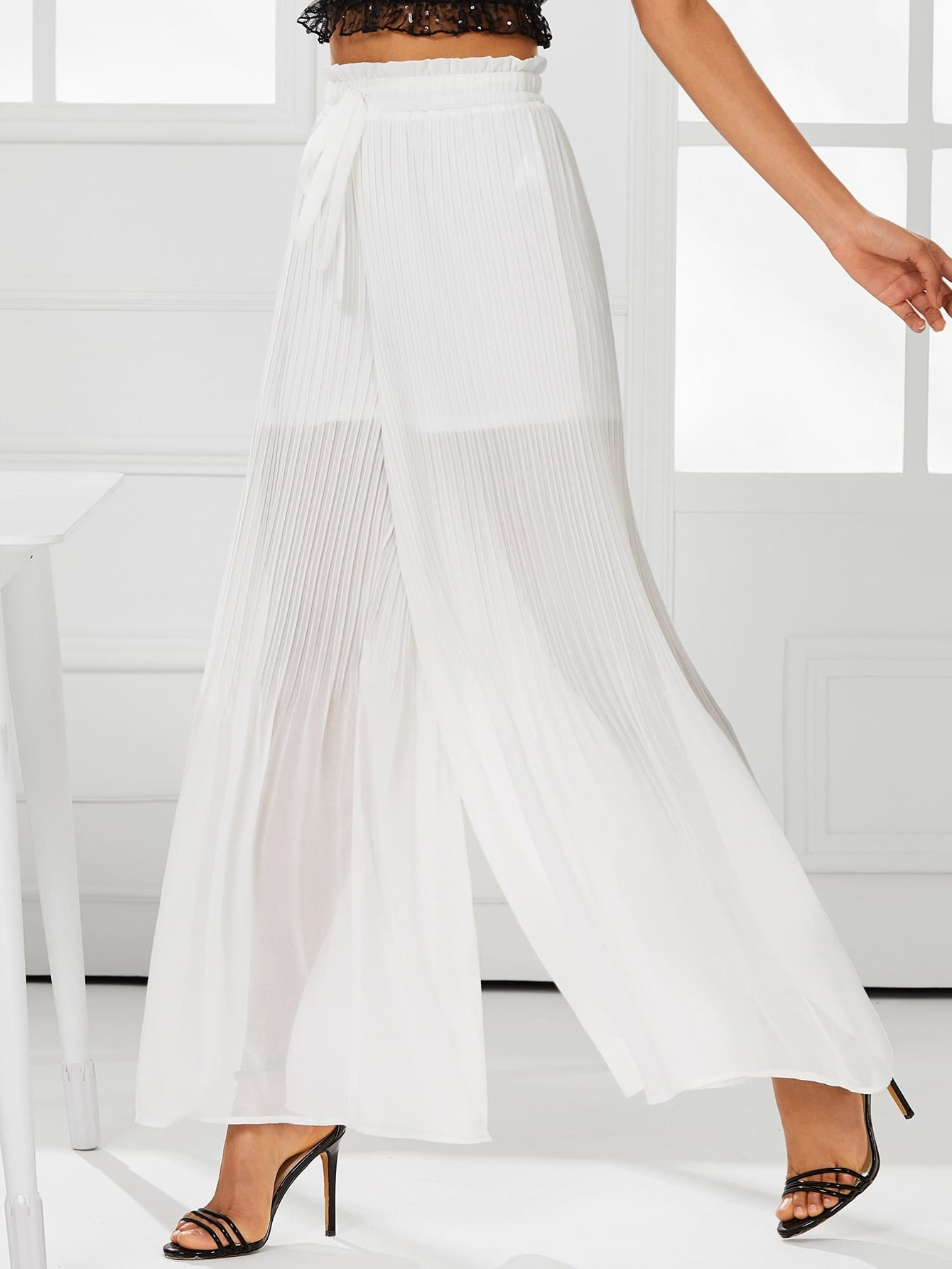 Shirred Waist Pleated Wide Leg Pants shirred waist zip back fit