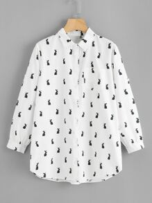 Rabbit Print Rolled Sleeve Shirt Dress