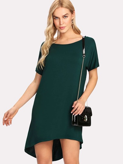 Dolman Sleeve Dip Hem Solid Tee Dress