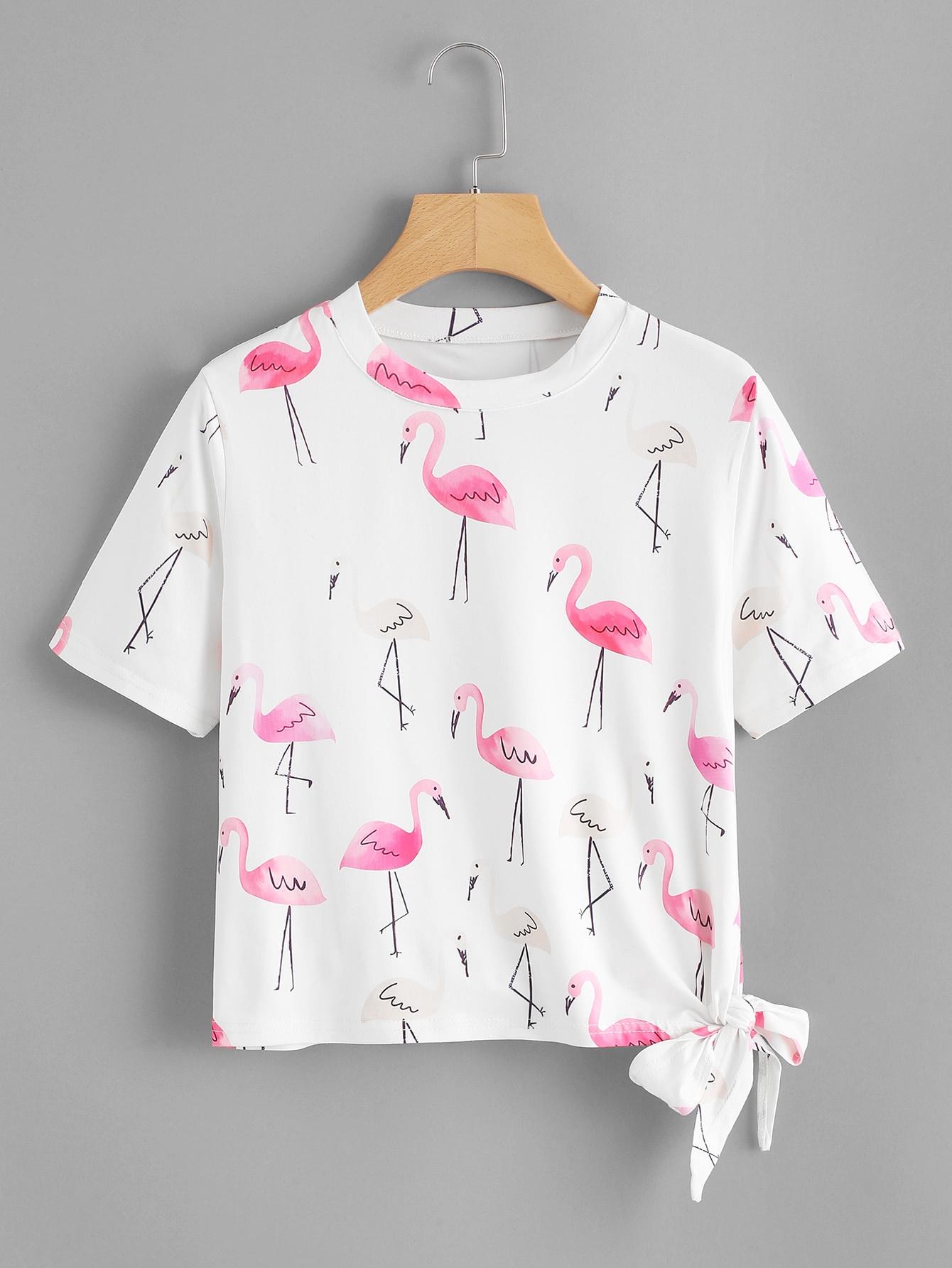 Knot Side Flamingo Print Tee
