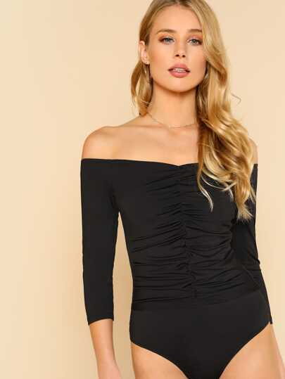 Ruched Off Shoulder Bodysuit