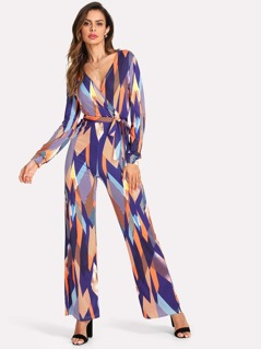 Geo Print Belted Wrap Jumpsuit
