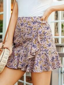 Asymmetric Ruffle Detail Botanical Skirt