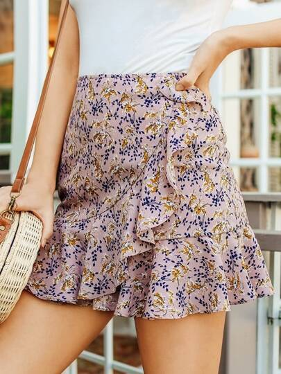 Asymmetric Ruffle Detail Botanical Skirt