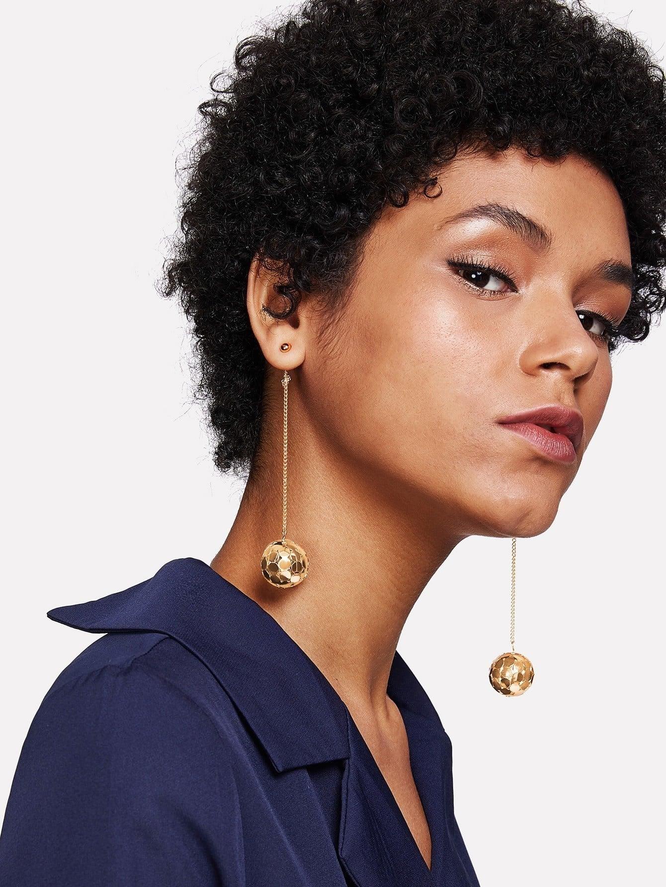Hollow Ball Design Drop Earrings two tone hollow face design drop earrings