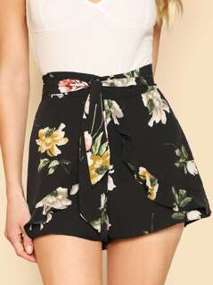 Floral Print Ruffle Belted Shorts BLACK MULTI