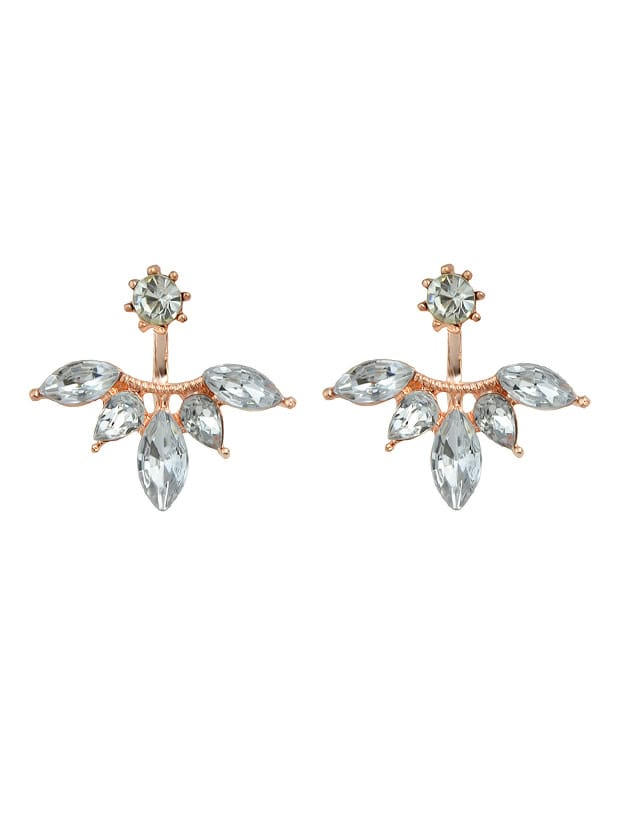 Rosegold Rhinestone Stud Earrings For Women Accessories starry pattern gold plated alloy rhinestone stud earrings for women pink pair
