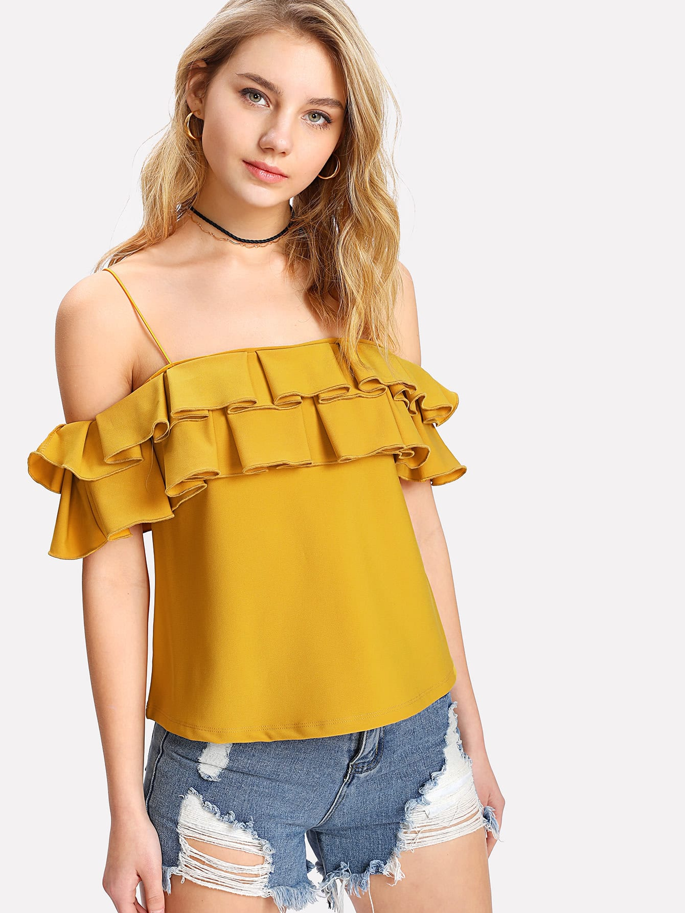 Layered Pleated Ruffle Cold Shoulder Top pearl detail layered frill sleeve top