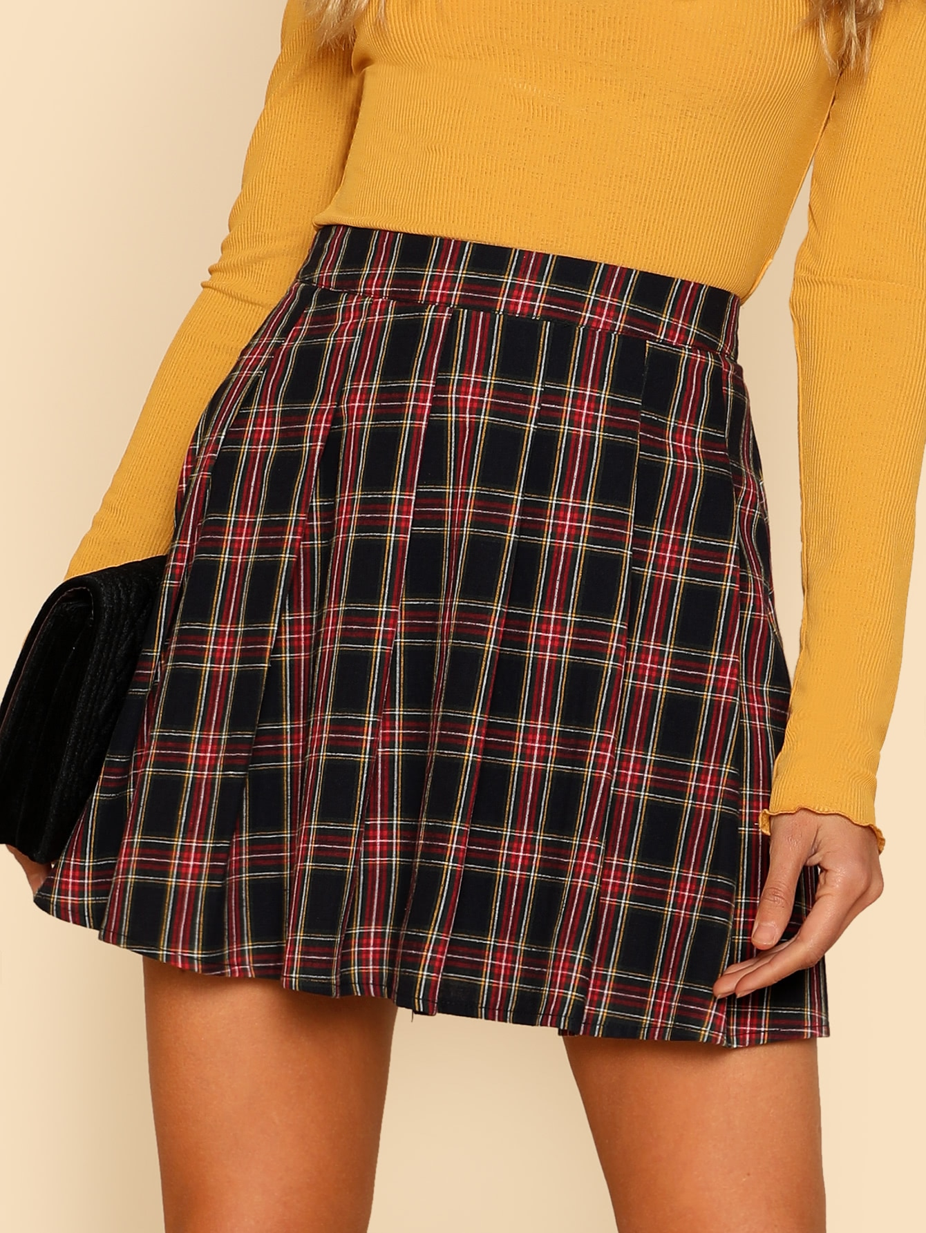 Box Pleated Checked Skirt box pleated suede skirt