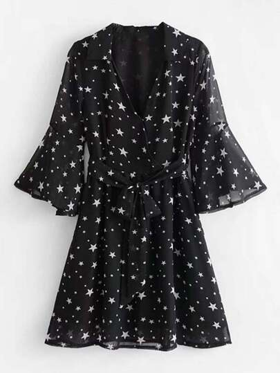 Star Print Flounce Sleeve Self Tie Dress