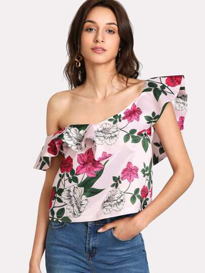 Flounce Asymmetric Shoulder Botanical Top