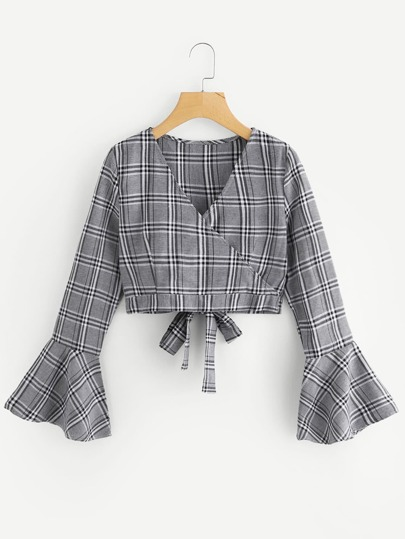 Fluted Sleeve Bow Tie Back Wrap Top