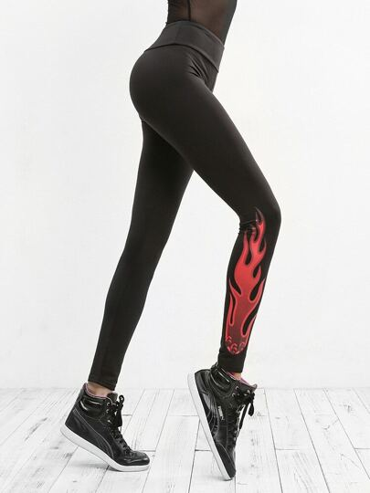 Flame Print Leggings
