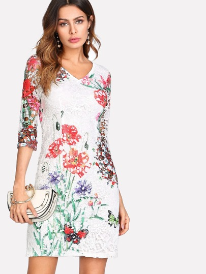 Flower And Butterfly Lace Panel Zip Back Dress