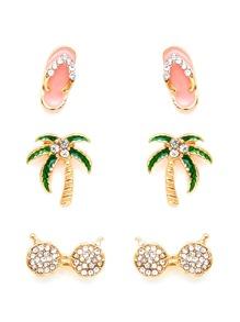 Palm Tree & Flip Flops Design Earring Set