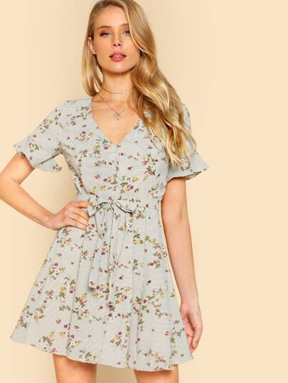 Floral Print Ruffle Sleeve Button Down Dress IVORY MULTI