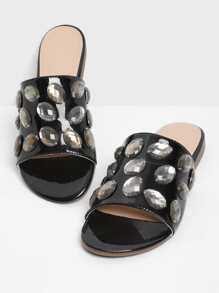 Rhinestone Decorated PU Flat Sandals