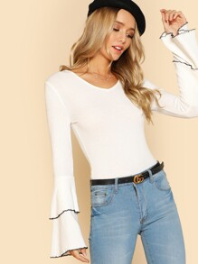 Layered Ruffle Sleeve Slim Fit T-shirt