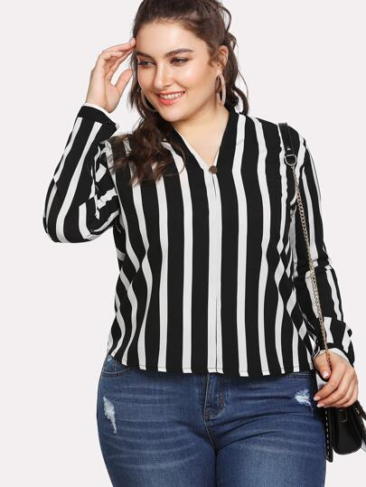 High Low Striped Blouse