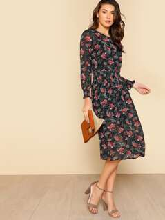 Shirred Cuff Botanical 2 In 1 Dress