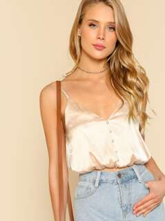 Elastic Hem Button Up Satin Cami Top