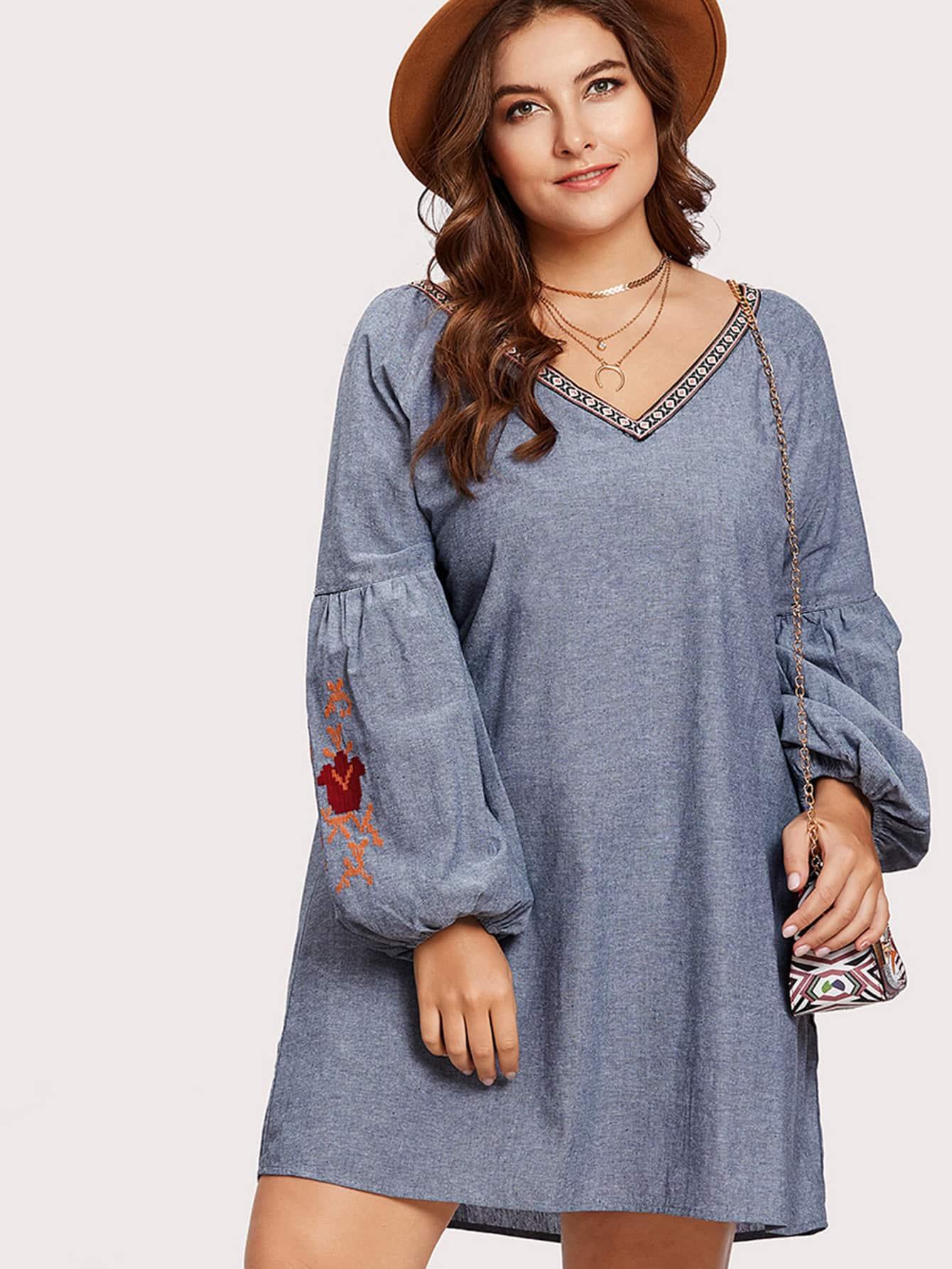 Embroidery Bishop Sleeve Swing Dress bishop sleeve tropical print dress