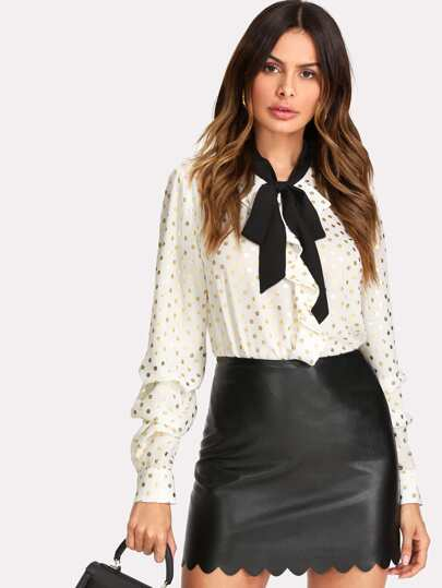 Gathered Sleeve Tie Neck Gold Polka Dot Blouse