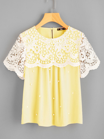 Guipure Lace Overlap Pearl Beading Top