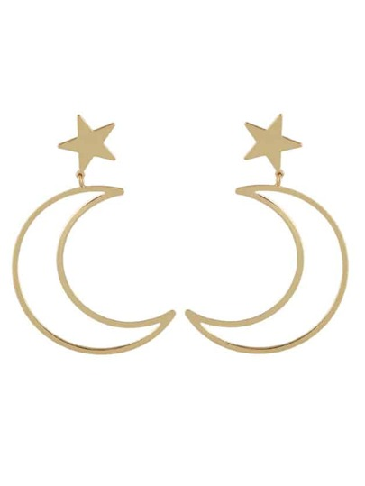 Gold Simple Star Moon Long Earrings