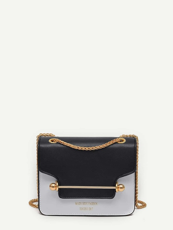 Piping Detail Two Tone Chain Bag by Sheinside