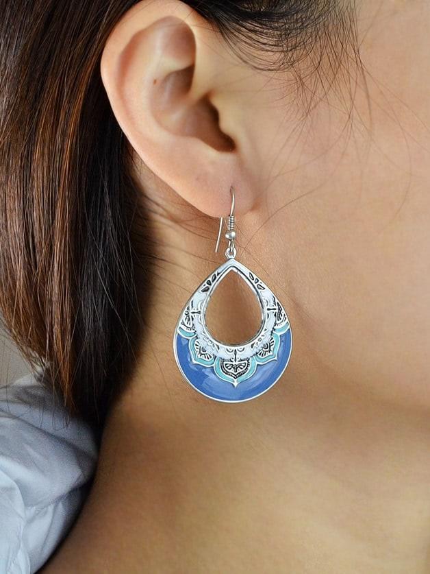 Enamel Flower Pattern Water Drop Dangle Earrings clip on earrings with mandala flower pattern round pendant