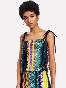 Block Striped Sequin Cami Top