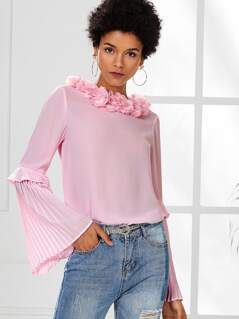 Flower Applique Neck Pleated Sleeve Top
