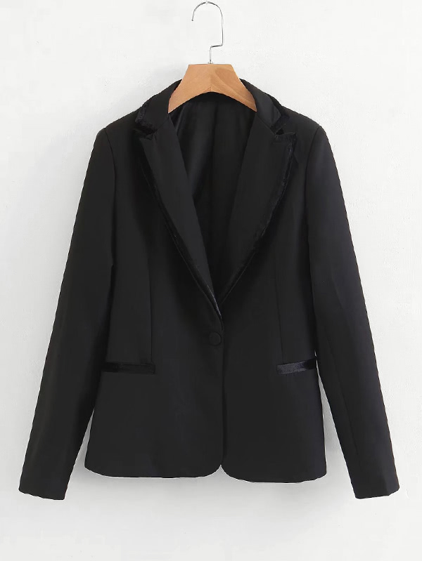 Contrast Piping Tailored Blazer contrast cuff fitted blazer
